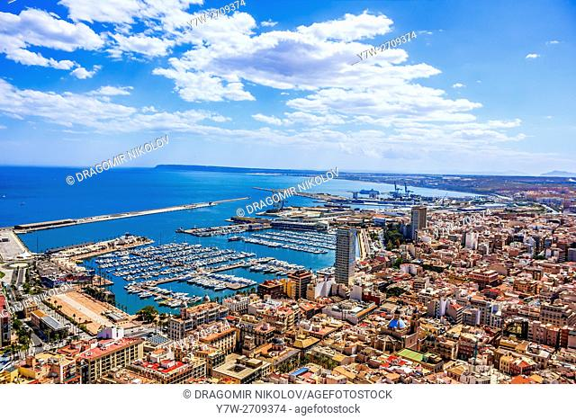 Alicante panoramic view. The resort town in situated in Spain, Europe. The photo is taken from Santa Barbara Castle