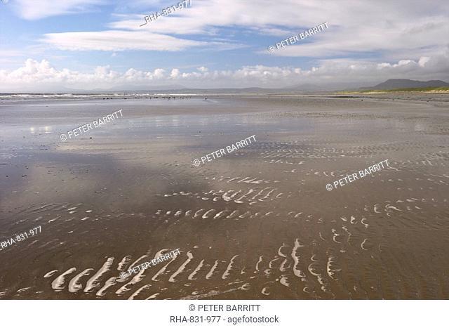 Harlech beach and Tremadog Bay in summer sunshine, Gwynedd, Wales, United Kingdom, Europe