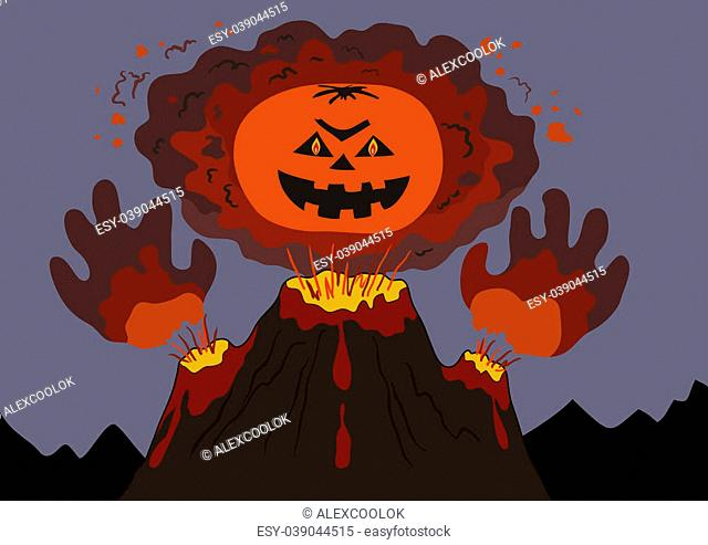 The evil erupting volcano with a human face and hands, cartoon