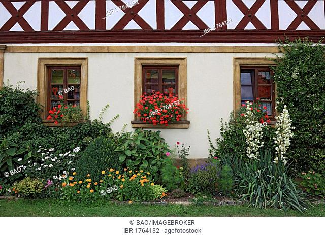 Cottage garden in front of a half-timbered farmhouse, Lichtenfels district, Upper Franconia, Bavaria, Germany, Europe