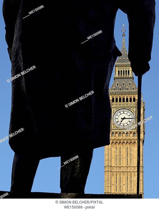 Winston Churchill Statue and Big Ben, Westminster, London, England, UK