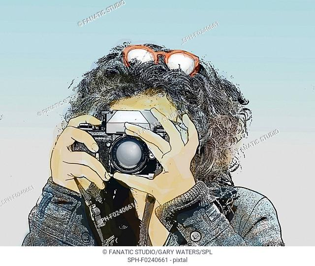 Illustration of a young woman pointing a vintage camera at the viewer taking a photograph