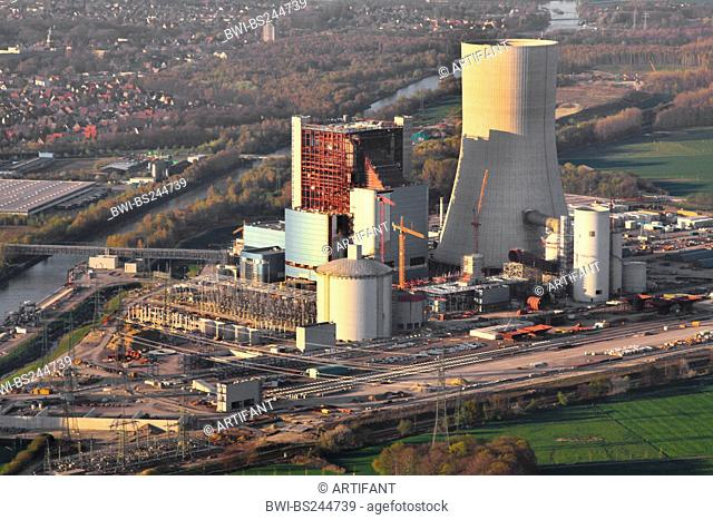 construction of a new coal-fired power plant in Datteln at Dortmund Ems channel and city of Datteln on the left, Germany, North Rhine-Westphalia, Ruhr Area