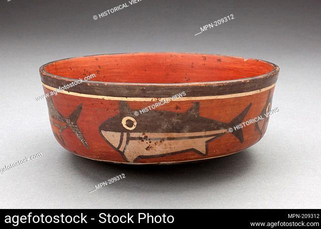 Bowl Depicting Shark or Killer Whale - 180 B.C./A.D. 500 - Nazca South coast, Peru - Artist: Nazca, Origin: Peruvian South Coast, Date: 180 BC–500 AD