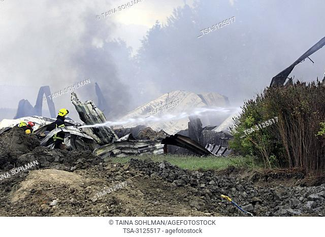 Salo, Finland. September 14, 2018. Fire destroys 5,000 square meters of production and office spaces of Finnish Candle manufacturer Kynttila-Tuote Oy