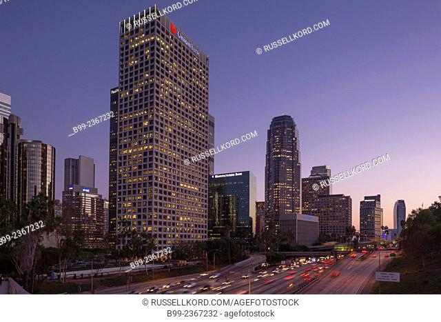 Downtown Skyline Interstate 110 Harbor Freeway Los Angeles California Usa