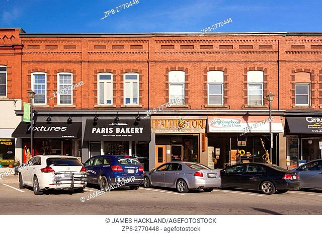 Downtown Paris along Main Street (Grand River Street) in Paris, Brant County, Ontario, Canada