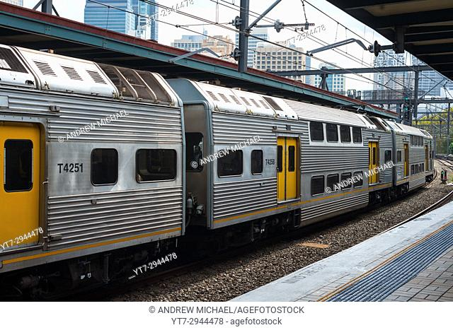 Train arriving at Central station, Sydney, New South Wales, Australia