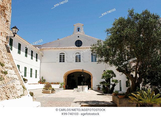 Church on the top of Monte Toro, Es Mercadal. Minorca, Baleric Islands, Spain