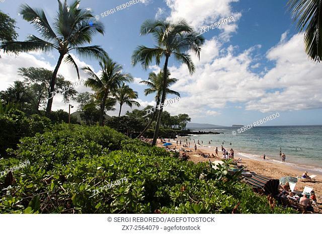 Maluaka beach on the south shore of Maui Hawaii. Maluaka Beach is just south of Wailea at the end of Makena Road