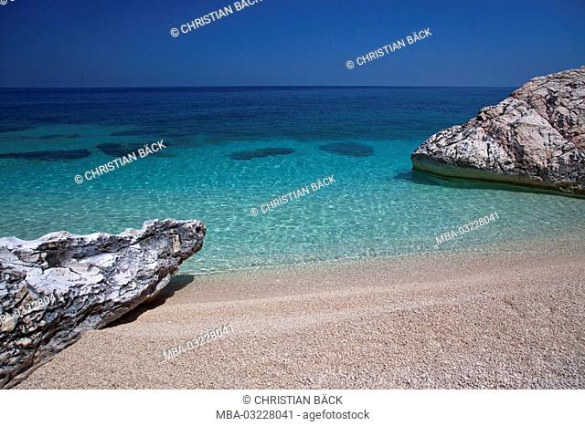 Beach in the bay Cala Mariolu, Golfo di Orosei, East sardinia, Sardinia, Italy, Europe