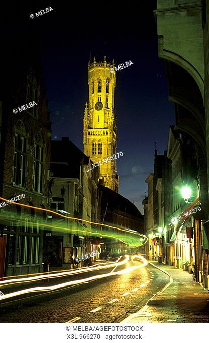 The Belfry tower in the medieval town of Brugge  Flanders Belgium
