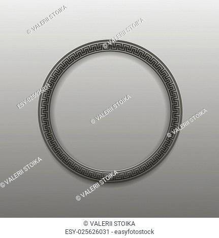 Greek Circle Frame Isolated on Grey Background