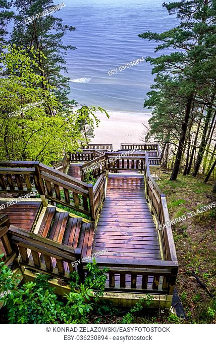 View from the top of wooden stairs on Baltic Sea beach in Miedzyzdroje seaside resort on Wolin Island in West Pomeranian Voivodeship of Poland