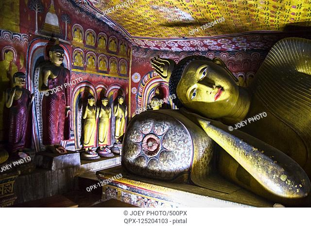 Peaceful scene from one of Dambulla Cave Temples