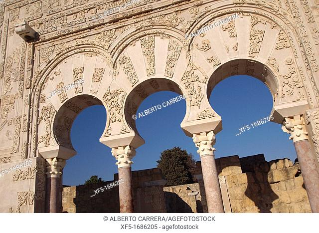Madinat al-Zahra, Medina Azahara, Detail of the Ya' far Facade, Medieval Archaeological Complex, Córdoba, Andalusia, Spain, Europe
