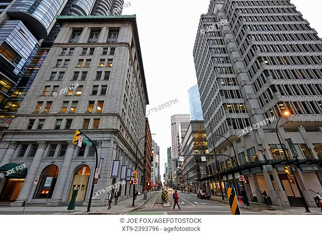 looking up hornby street from 900 west hastings and the credit foncier building Vancouver BC Canada