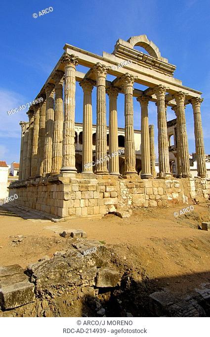 Diana's temple, old roman city Emerita Augusta, Merida, Extremadura, Badajoz, Spain, Ruta de La Plata