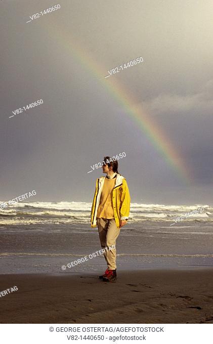 Long Beach with rainbow, Long Beach, Washington, USA