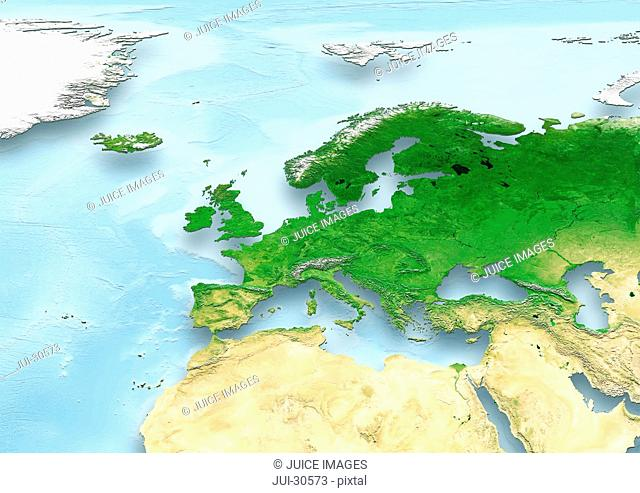 map, Western Europe, physical