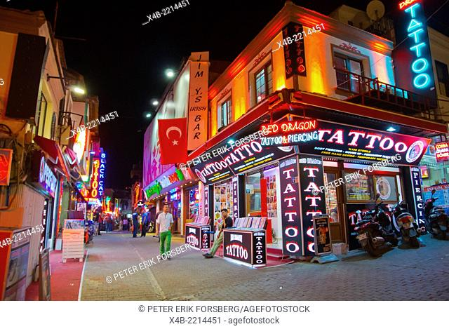 Bar street at night, Kusadasi, Turkey, Asia Minor