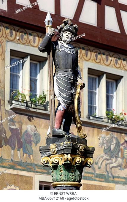 fountain figure, historical houses in the Town Hall square, Stein at the Rhine, Lake of Constance, Thurgau, Switzerland
