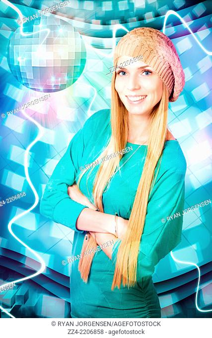 Creative design portrait of an attractive young blonde girl standing under mirror ball at hand drawn disco in cool beanie. Winter party concept