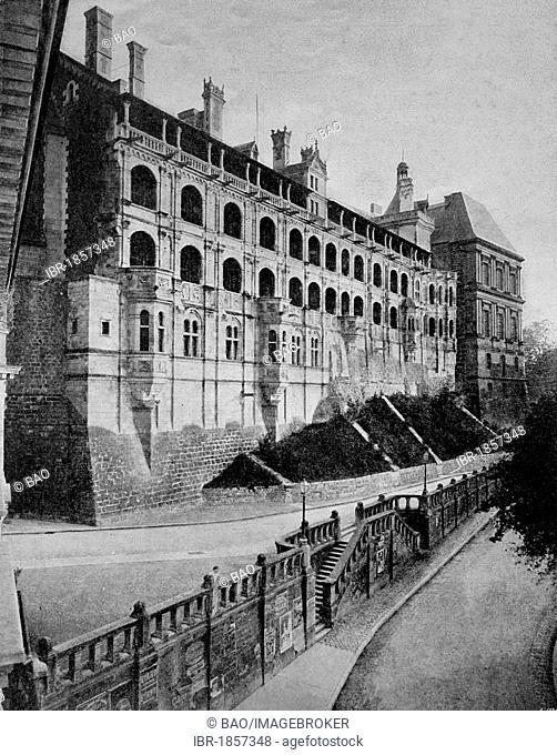Early autotype of Château de Blois palace, Loir-et-Cher, France, historical photograph, 1884