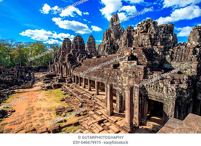 Bayon Temple with giant stone faces, Angkor Wat, Siem Reap, Cambodia