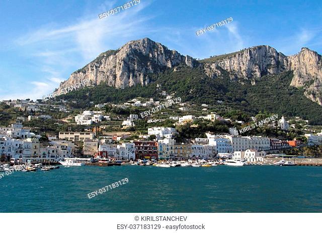 Seaview of Marina Grande on an island Capri in a bright sunny morning