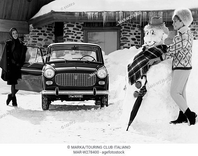 sulla neve con la fiat 1100 d, 1963