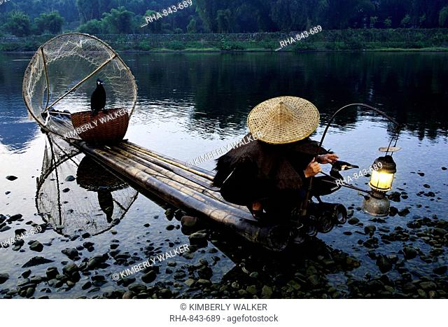 Cormorant fisherman with his pet birds on a bamboo raft in shallow water in the countryside of Li River, Yangshuo, Guangxi, China, Asia