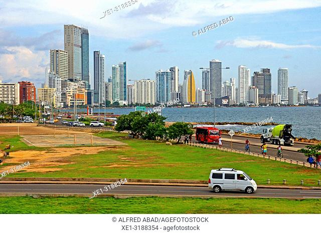 Bocagrande district from the historic center, Cartagena de Indias, Colombia