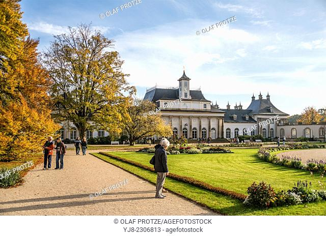 Neue Palais at the Pillnitz Castle near Dresden, Saxony, Germany. The park around the castle was founded in 1539 by building the castle church and was later on...