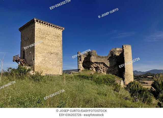 Castle and wall in Santa Gadea del Cid in Burgos province, Castilla-Leon, Spain