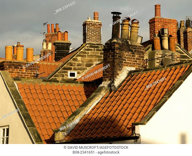 house roofs at Robin Hoods Bay, Yorkshire,Britain