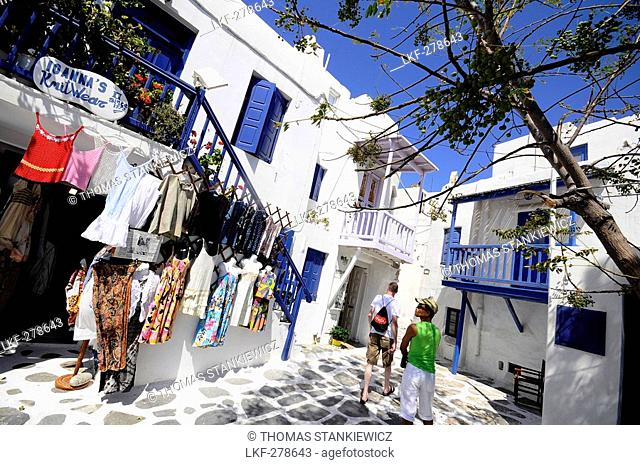 People in the narrow lanes of town, island of Mykonos, the Cyclades, Greece, Europe