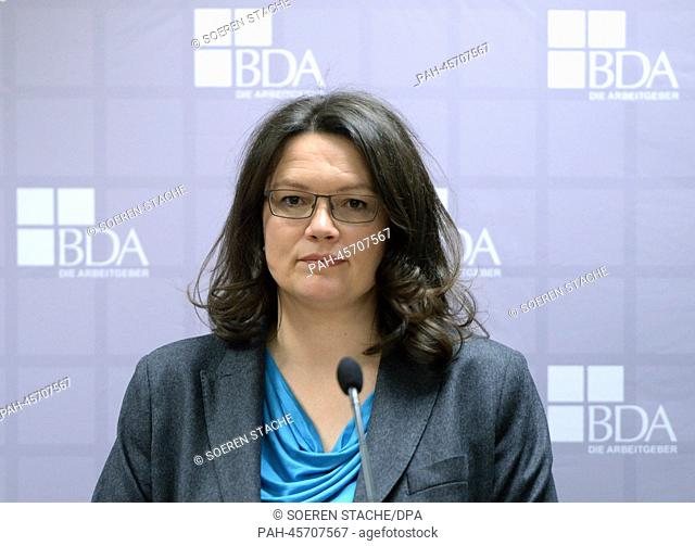 German Minister of Labour and Social Affairs Andrea Nahles (SPD) is pictured during a press conference of the Confederation of German Employers' Associations or...
