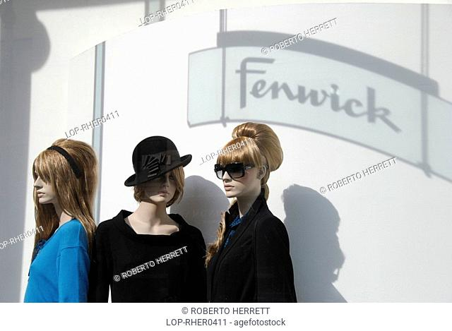 England, London, New Bond Street, Three mannequins on display in the Fenwick department store window