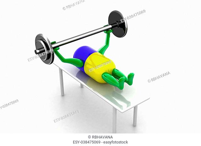 Healthy pill lifting dumble in white background