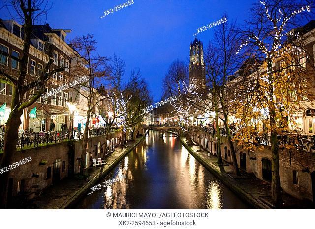 Oudegracht and Dometoren of Utrecht at night, Utrecht, The Netherlands