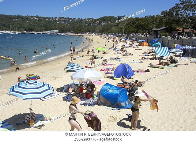 Summer day on Balmoral Beach in Mosman, a Sydney suburb on the Northern beaches of Sydney,Australia
