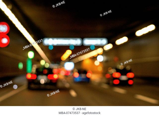 Germany, Bavaria, Munich, middle ring road, road tunnel, traffic, blur, lights