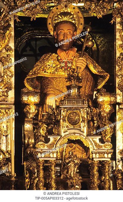 Spain, Galica. Santiago de Compostela, the cathedral altar