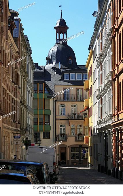 Germany, Koblenz, Rhine, Moselle, Maifeld, Eifel, Hunsrueck, Westerwald, Rhineland-Palatinate, old city, Goerresstrasse, row of houses, terrace houses