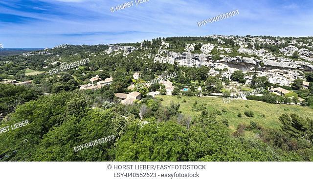 Les Baux-de-Provence, view from the castle ruins on the Alpilles. Bouches du Rhone, Provence, France, Europe