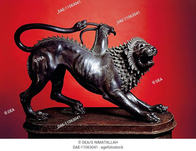 Etruscan civilization, 5th-4th century b.C. Chimera of Arezzo, bronze sculpture, height 65 cm.  Florence, Museo Archeologico Nazionale (Archaeological Museum)