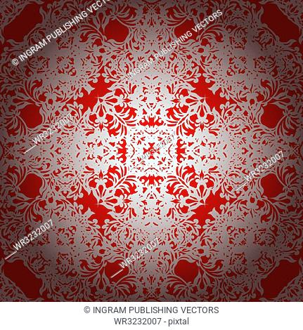 Royal red seamless repeating illustrated background with silver overlay