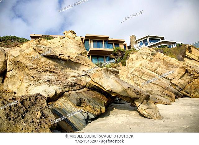 Laguna Beach houses along beach - California