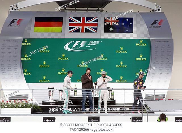 Nico Rosberg #6, Lewis Hamilton #44 and Daniel Ricciardo #3 celebrate victory during 2016 Formula 1 United States Grand Prix Race Day Three at Circuit Of The...